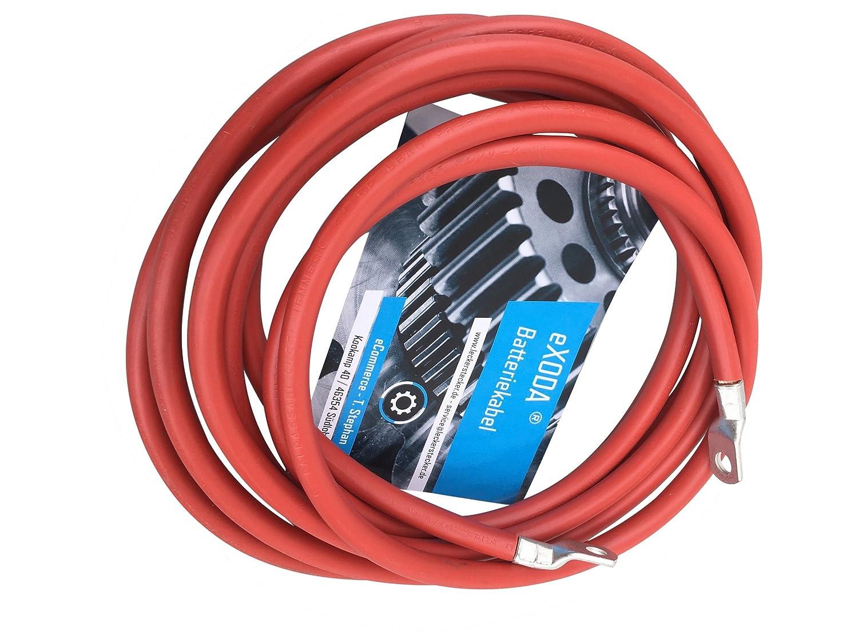 eXODA C/âble de Batterie 200cm c/âble dalimentation en cuivre 10 mm/² avec cosses /à /œillets M8 Rouge 12V c/âble de Voiture