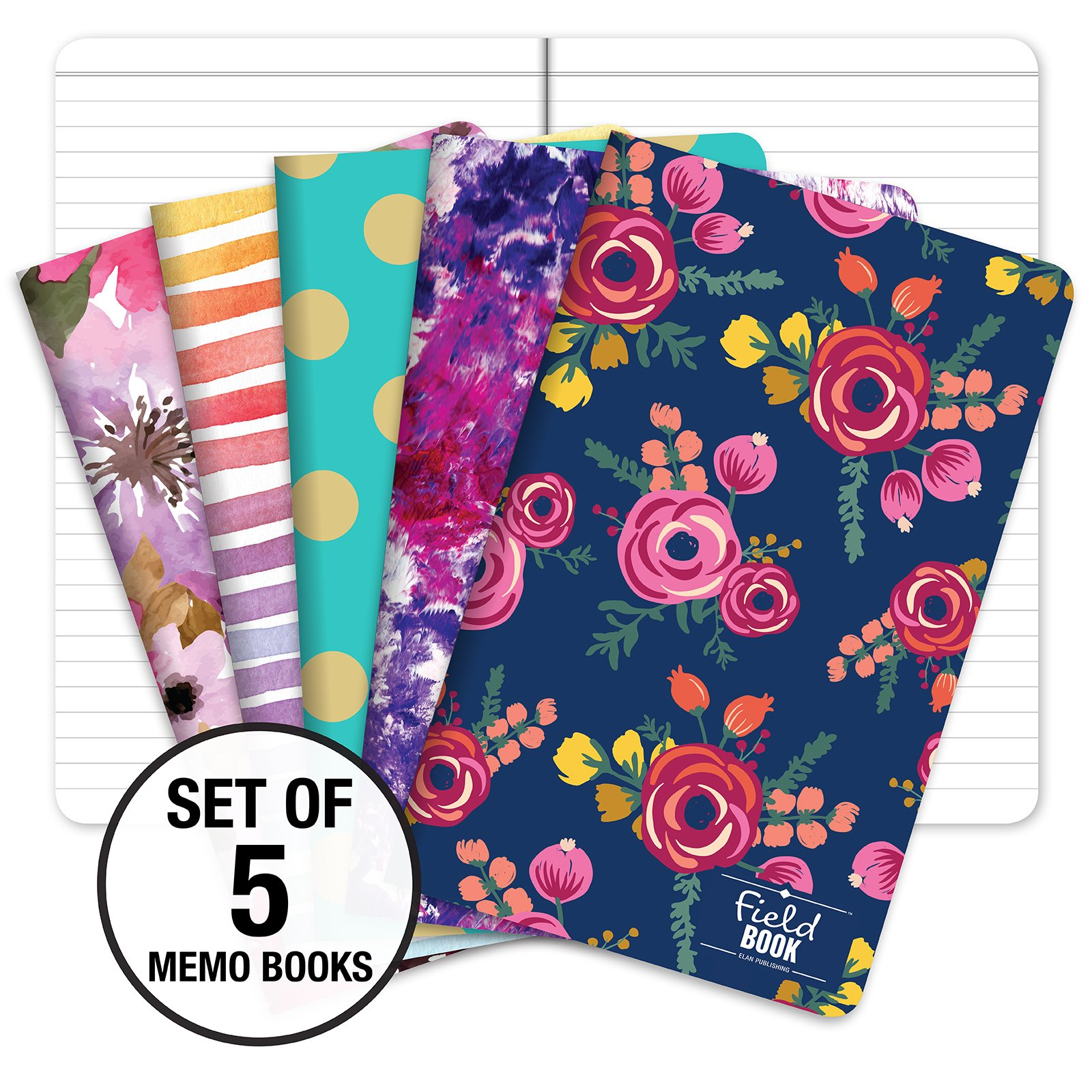 Field Notebook - 5''x8'' - Assorted Patterns - Lined Memo Book - Pack of 5