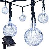 DecorNova 19.7 Feet 30-LED Solar String Lights Outdoor Crystal Ball Fairy Lights,Cool White