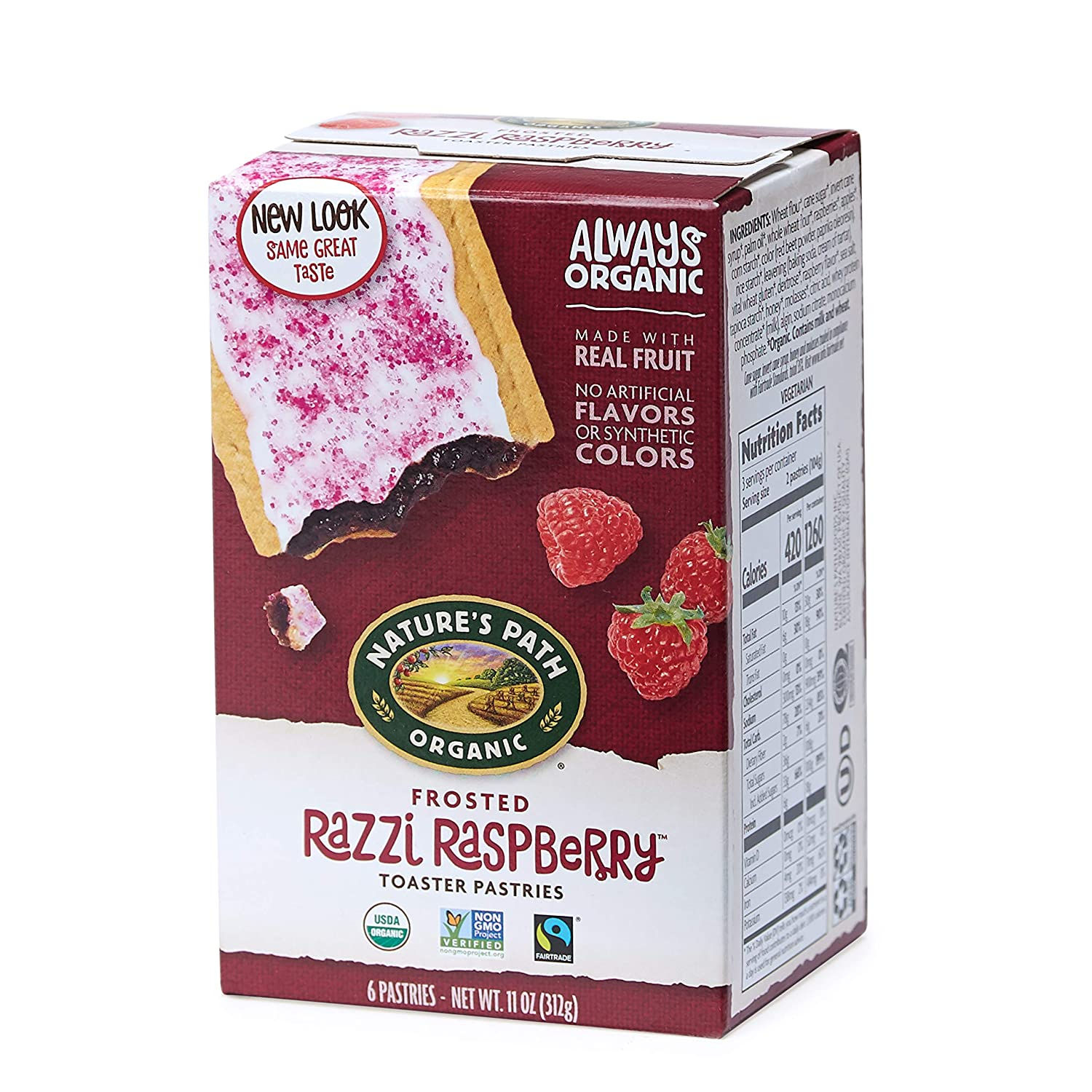 Nature's Path Frosted Razzi Raspberry Toaster Pastries, Healthy, Organic, 6 Count per pack, Pack of 12