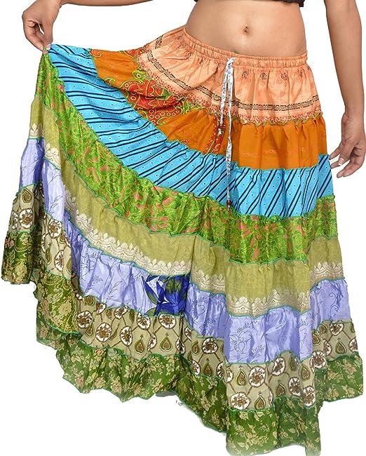 Wevez Pack de 5 de la Mujer Tribal Estilo 7 Capas Falda Surtido ...