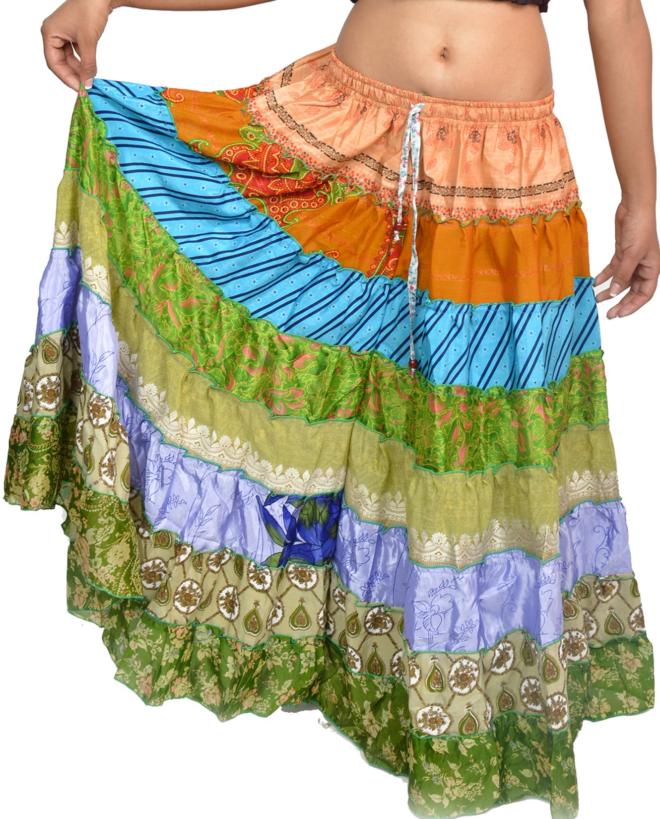 Wevez Women's Pack of 3 Tribal Style 7-Layer Skirt, One Size, Assorted