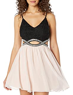 Speechless Juniors Glitter Tulle Slip Party Dress with Jeweled Waist and Side Cut-Outs