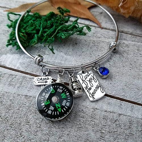 cb19f51221b3a Amazon.com: Camping charm bangle bracelet | find joy in the journey ...