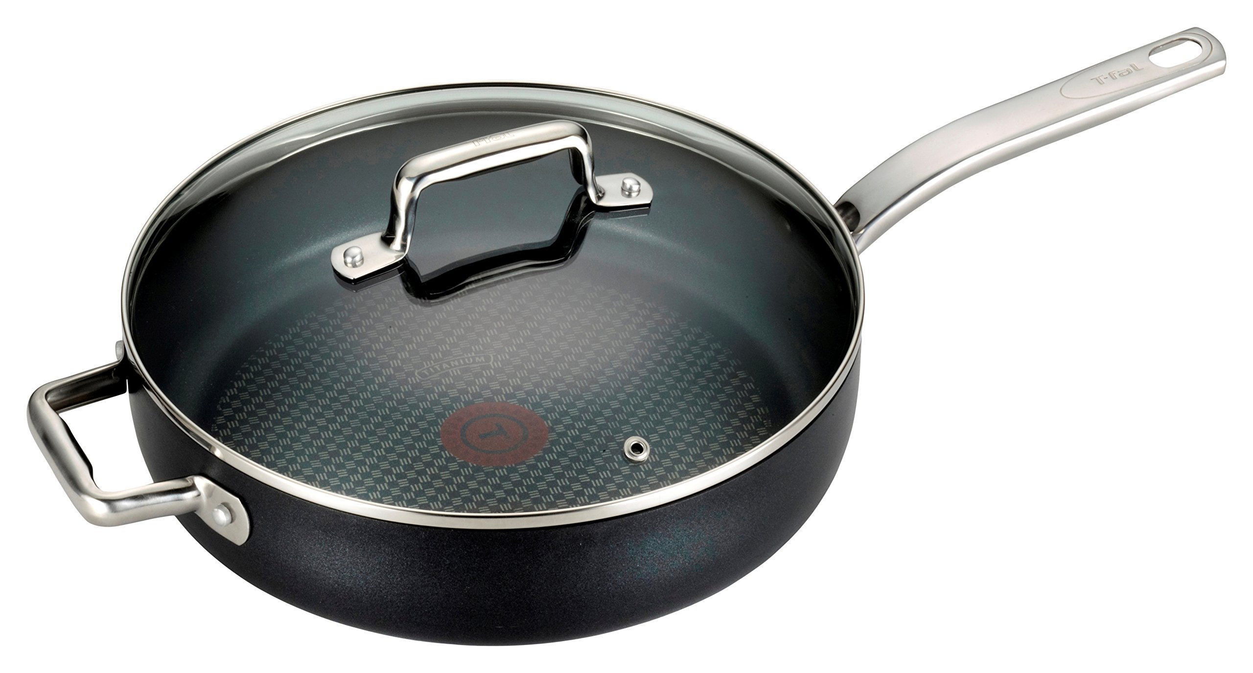T-fal C51782 ProGrade Titanium Nonstick Thermo-Spot Dishwasher Safe PFOA Free with Induction Base Saute Pan Jumbo Cooker Cookware, 5-Quart, Black by T-fal