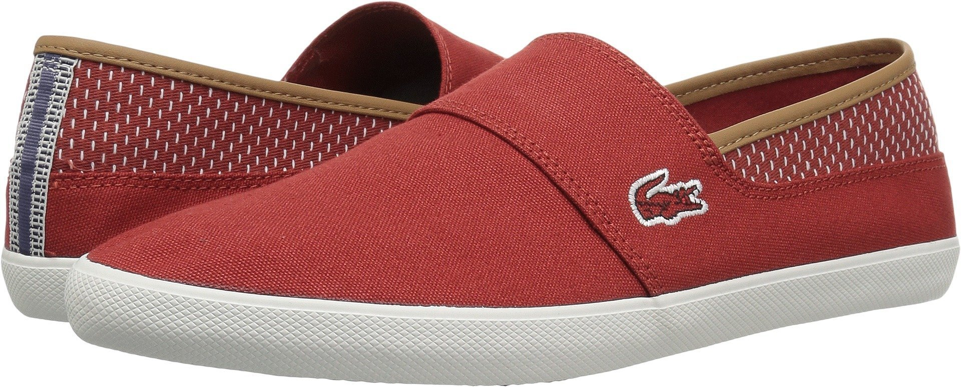Lacoste Men's Marice Slip-ons, Red/Ltbrw cotton canvas, 10.5 M US
