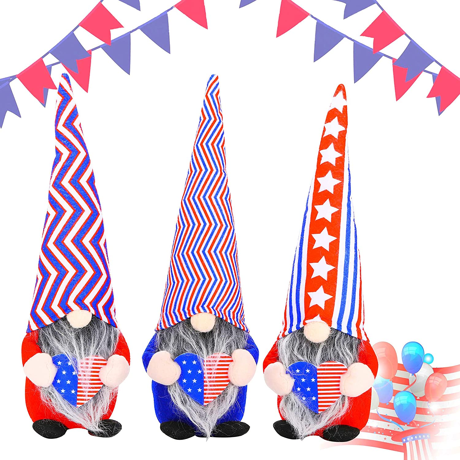 Patriotic Gnomes 4th of July Independence Day Decorations, Scandinavian Gnomes Veterans Day Home Kitchen Table Tiered Tray Wall Decor Set of 3