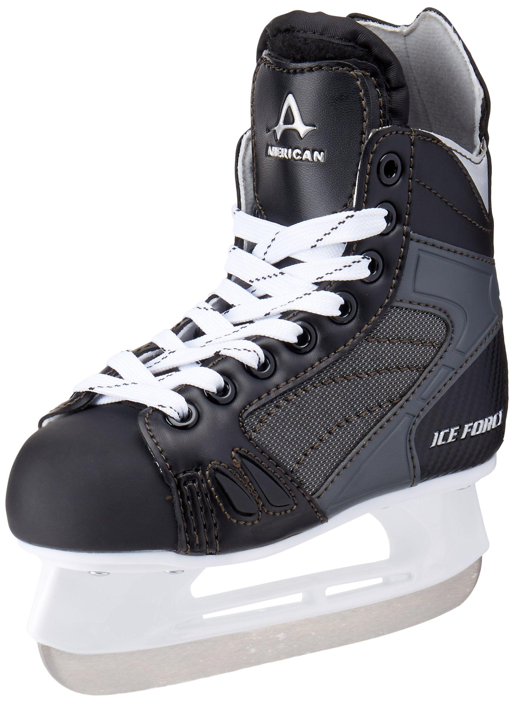 American Athletic Shoe Boy's Ice Force Hockey Skates, Black, 11 Y