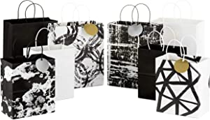 """Hallmark Black and White Paper Gift Bags Assortment (Pack of 8; 4 Medium 10"""", 4 Large 13"""") for Birthdays, Bridal Showers, Baby Showers, Weddings, Halloween or Any Occasion"""