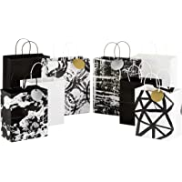 Hallmark Black and White Paper Gift Bags Assortment - Pack of 8 for Birthdays, Engagements, Bridal Showers, Baby Showers…