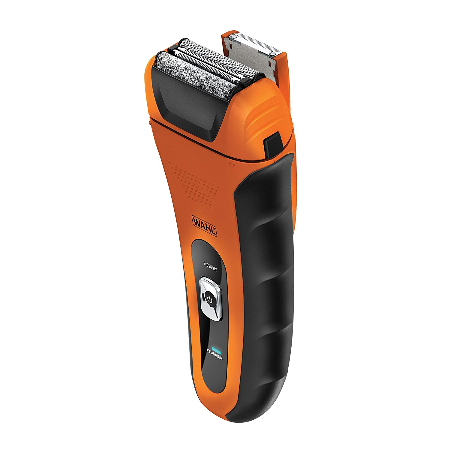 Wahl Lifeproof Lithium Ion Foil Shaver – Waterproof Rechargeable Electric Razor with Precision Trimmer for Men's Beard Shaving & Grooming with Long Run Time & Quick Charge, Orange – Model 7061-2201