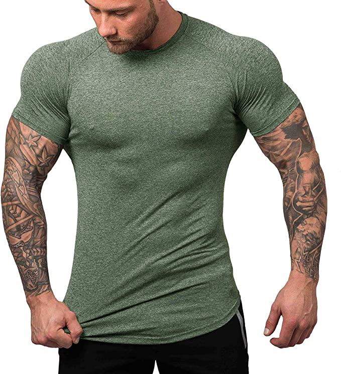 Mens Compression Under Shirt Base Layer Athleisure Tops Sports T-Shirts Gym Wear