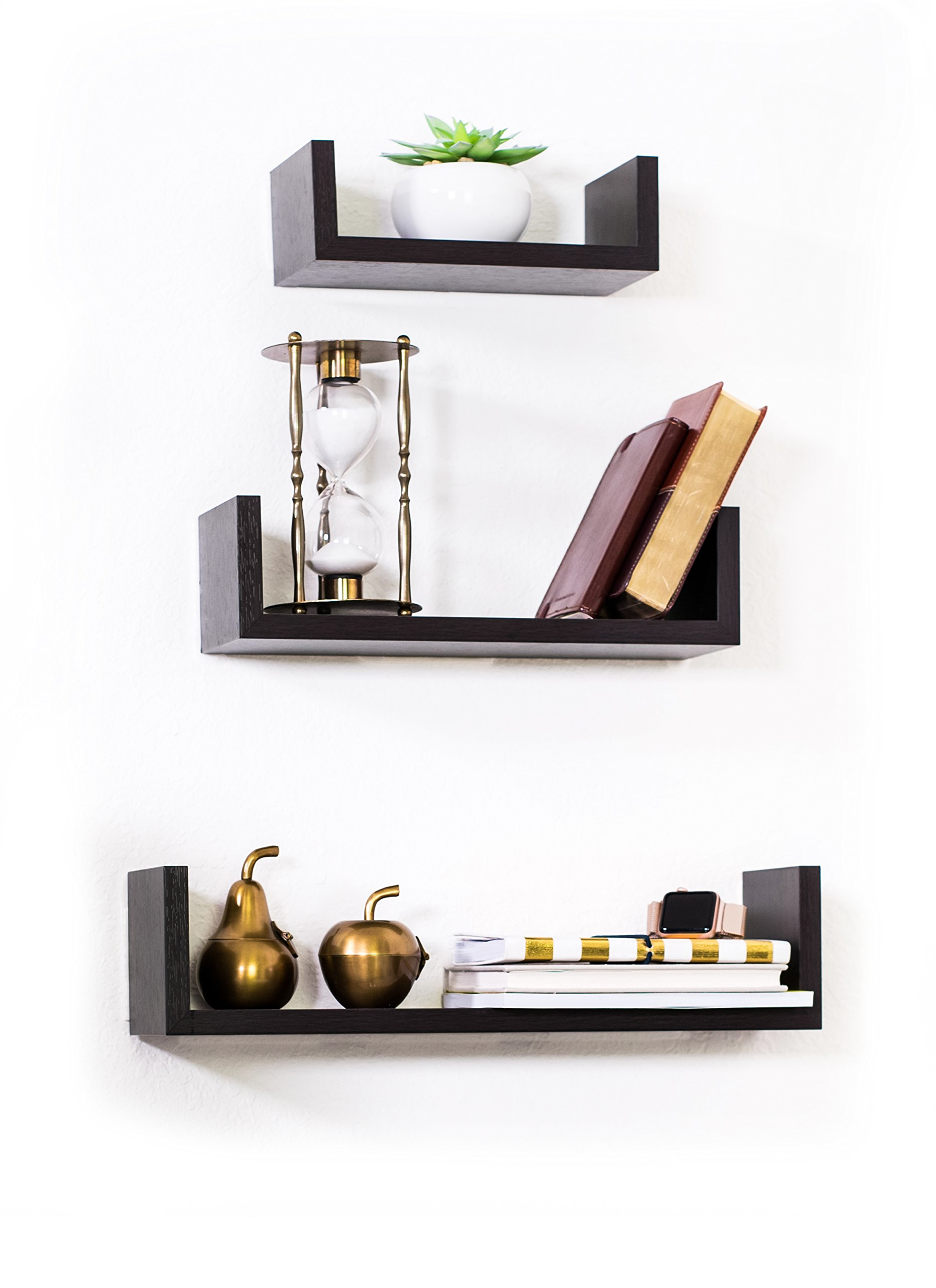 Adorn Home Essentials Floating Shelves Set of 3 with Modern U Shape and Durable Design, Simple Hanging Kit Included (Espresso)