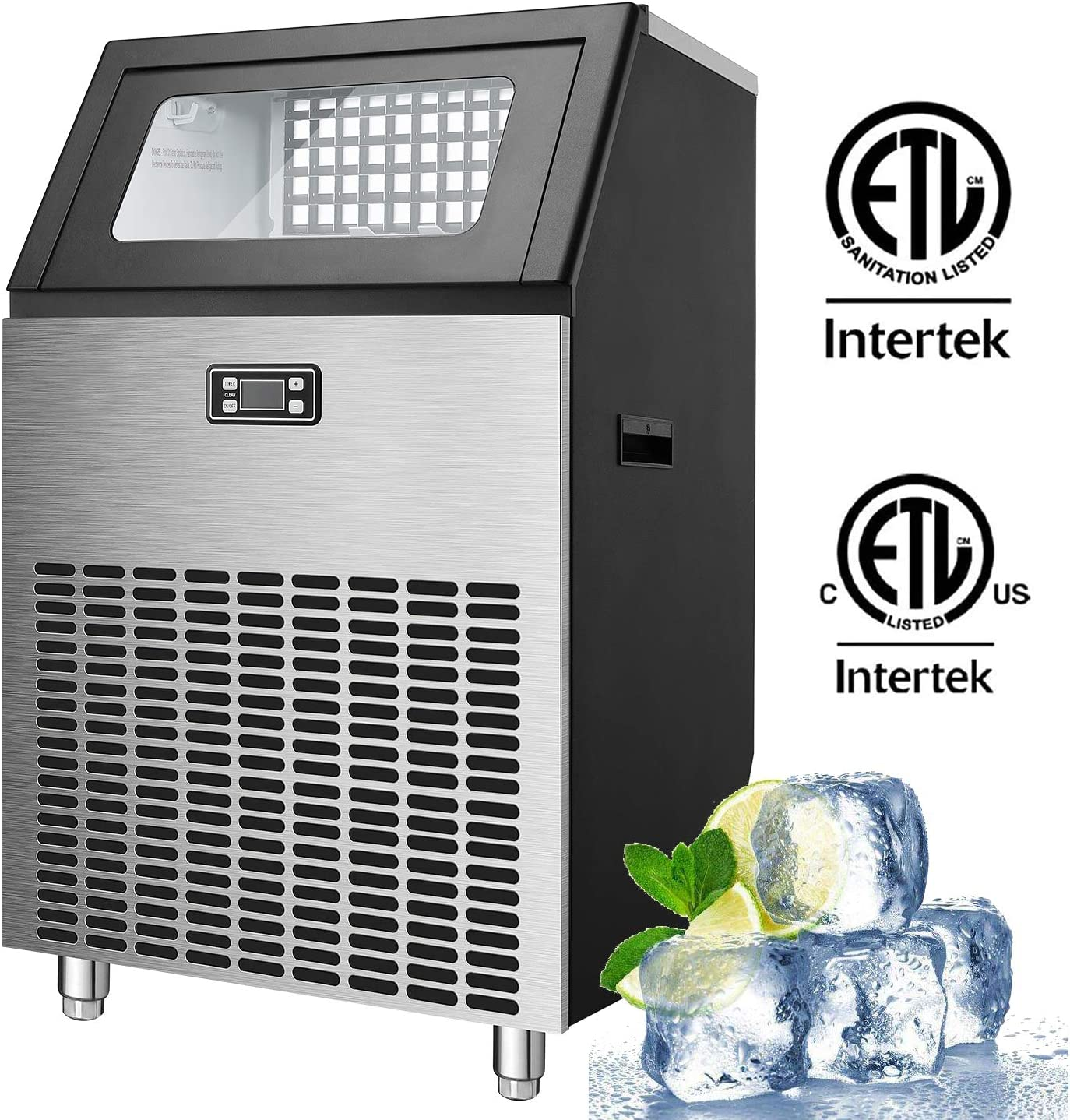 Antarctic Star Commercial Ice Makes Machine Stainless Steel Makes 200 Lbs of Ice Per 24H with 48 Pounds Storage Capacity Ice Cubes Freestanding Party/Bar/Restaurant Scoop Connection Hose Silver