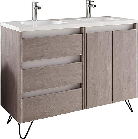 Amazon Com 48 Modern Bathroom Vanity Cabinet Urban Rhd Weathered Oak Wood 48 X 35 X 18 In Vanity Cabinet Ceramic Top Sink Legs Kitchen Dining