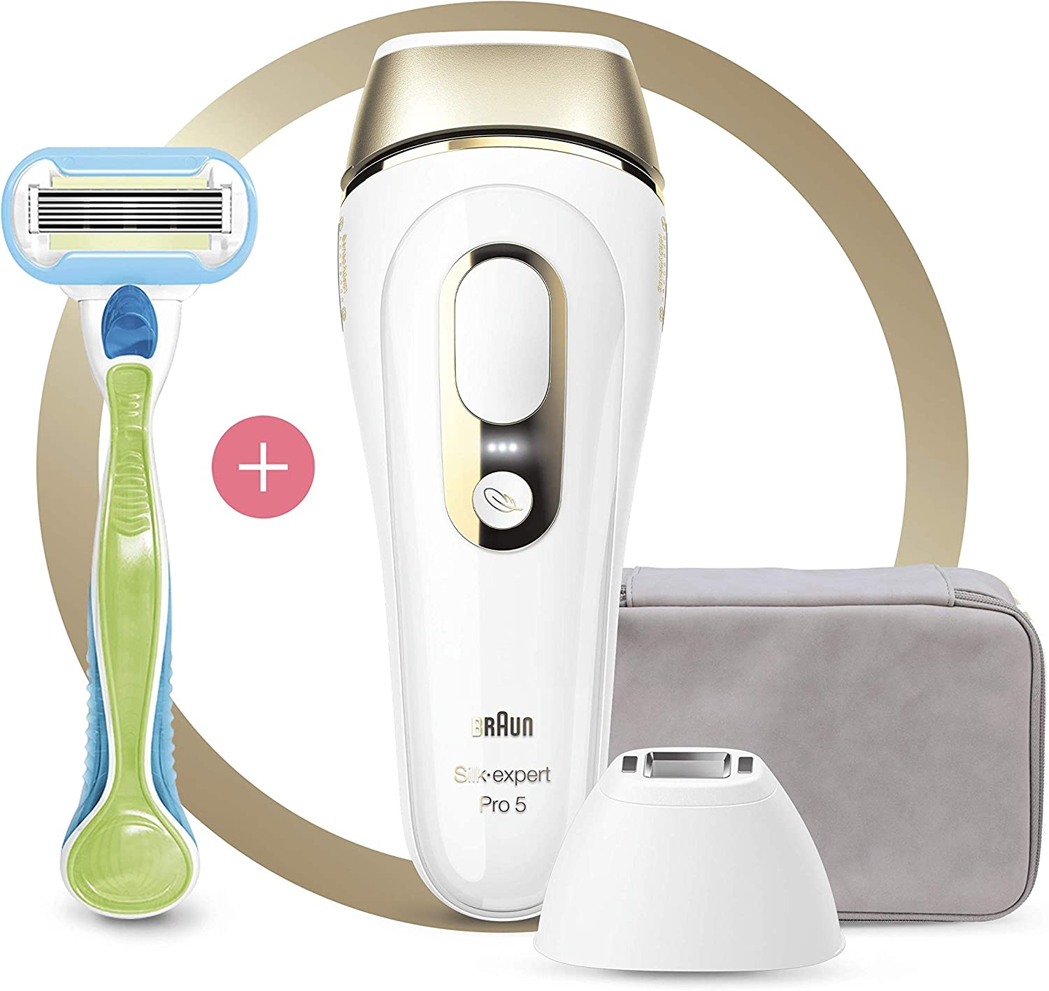 Amazon Com Braun Silk Expert Pro 5 Pl5124 Ipl Hair Removal With 3 Extras Precision Head Venus Razor And Premium Pouch White And Gold Health Personal Care