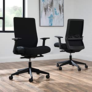 HON BASYX Biometryx Commercial-Grade Fabric Upholstered Task Chair, Office Chair, in Black