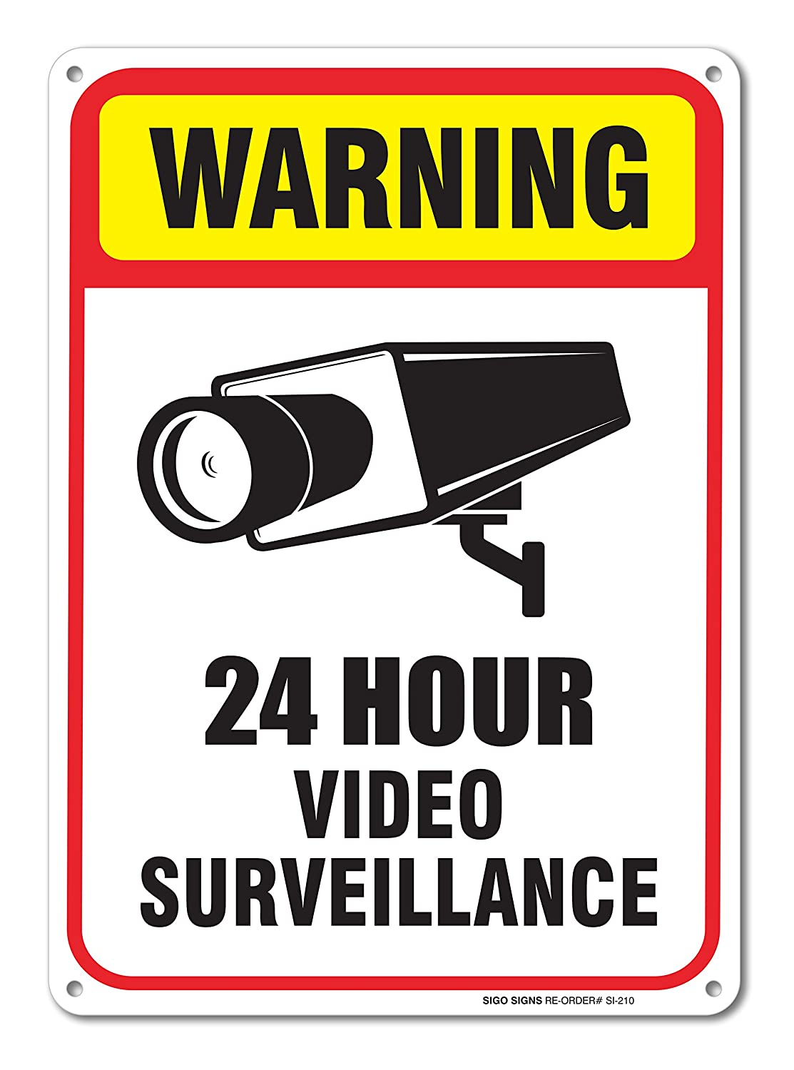 24 hour video surveillance sign 7 x 10 40 aluminum sign 641171987822 ebay. Black Bedroom Furniture Sets. Home Design Ideas