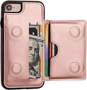 KIHUWEY iPhone 7 Wallet Case iPhone 8 iPhone SE 2020 Wallet Case with Credit Card Holder, Premium Leather Kickstand Durable Shockproof Protective Cover for iPhone 7/8/SE 4.7 Inch(Rose Gold)