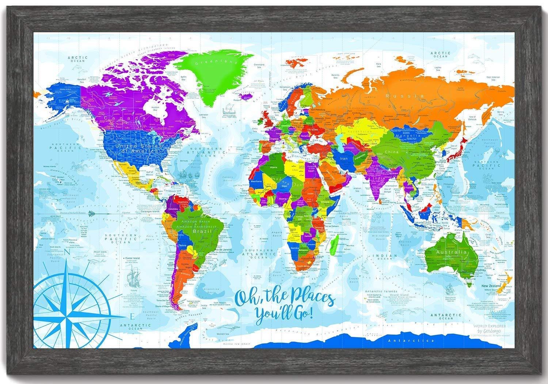 Amazon.com: Kids World Map Wall Art - Explorer 3 World Map - Framed ...