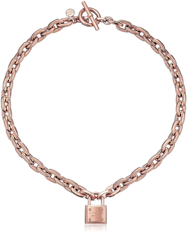 MICHAEL KORS Rose Gold Tone Chain Link Padlock Toggle