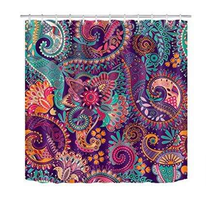 LB Indian Bohemian Shower Curtain Purple Floral Mandala Print Tribal Shower Curtains For Bathroom Waterproof Eco Friendly Fabric Bathroom Set With 12