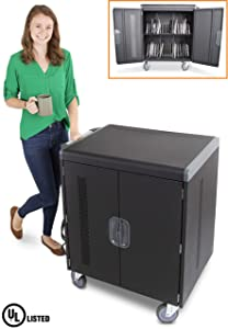 Line Leader 32 Device Smart Charging Cart, Mobile Lab Holds 32 Tablets, Chromebooks or Laptops with up to 15.6 Inch Display, Built in Cord Management, Locking Cabinet, Comes Fully Assembled