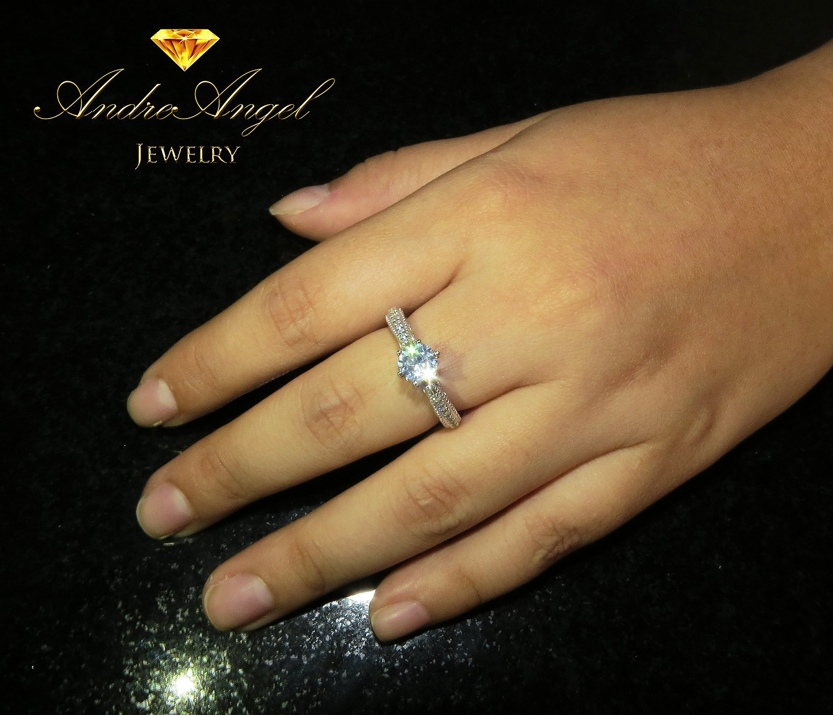 AndreAngel Women Ring White Gold 18K Princess Cut/Lab Diamond 6 mm Carat Cubic Zirconia AAA+/Bridal Birthday Dating Gift Anniversary Promise Engagement or Wedding Mother's Day (7) by AndreAngel (Image #1)