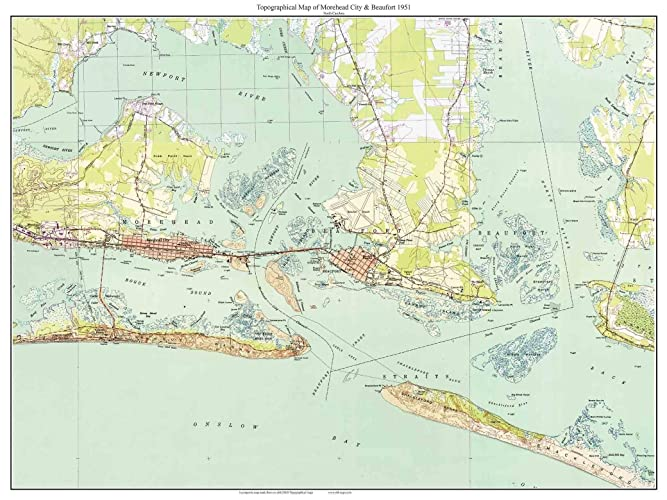 Amazon.com: Morehead City & Beaufort, NC   1951 Old Topographic