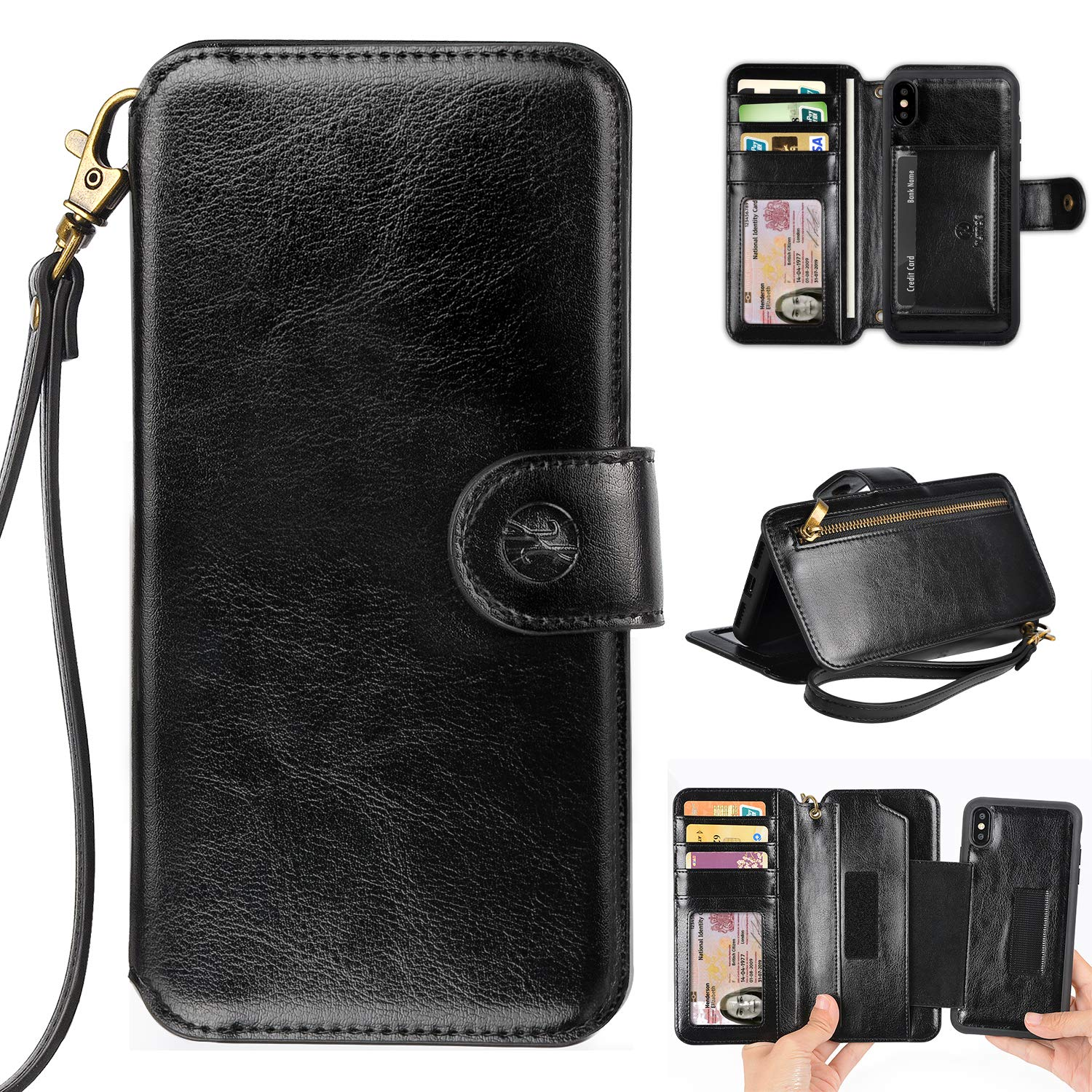 san francisco 50885 27b91 Phone Wallet Case Clutch Compatible with iPhone Xs Max 6.5 Apple Phone -  Wristlet Case Boutique Quality Vegan Leather Black - with Card Holder  Clutch ...