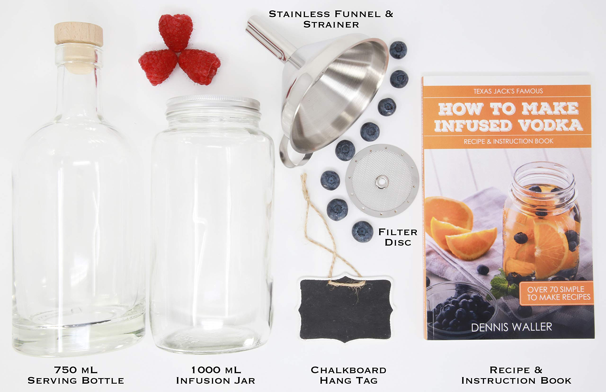 The SPIRIT INFUSION KIT - Infuse Your Booze! 70+ Homemade Flavored Vodka Recipes. Become an Infused Alcohol Cocktail Mixologist using the 110pg Recipe and Instruction Book. Great Gift & Party Hit! by Craft Connections Co. (Image #2)
