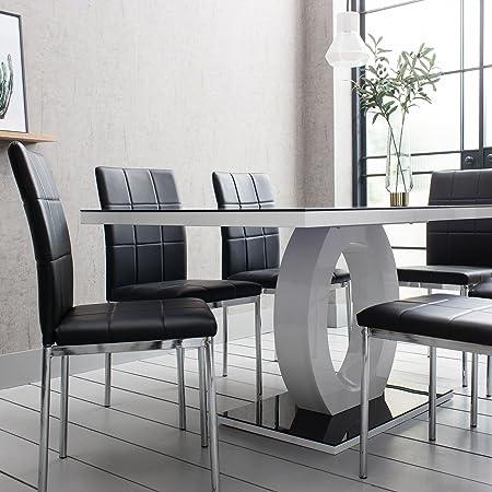 Del Vecchio Premium Black Glass Dining Table Set With 6 Chairs   Laura  James Range