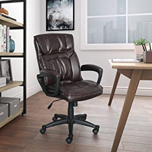 Serta Style Comfort Leather Hannah I Office Chair, Biscuit