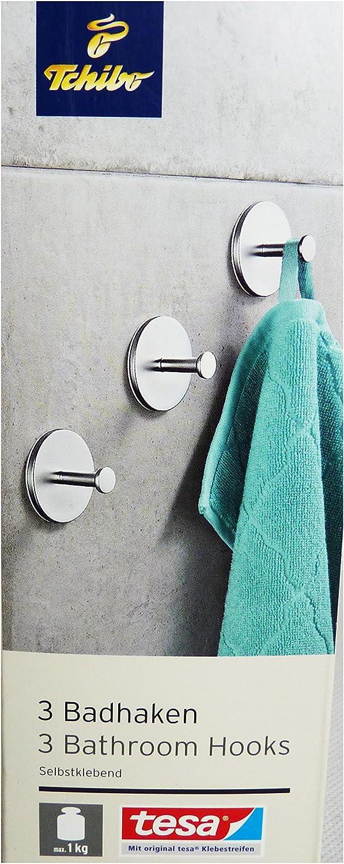 Tchibo TCM 3 x Metall Badhaken Haken Handtuchhalter Badhaken selbstklebend