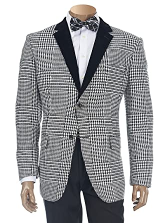 Inserch Mens Fancy Houndstooth Check Pattern Smoking Jacket Blazer Custom Mens Blazer Pattern