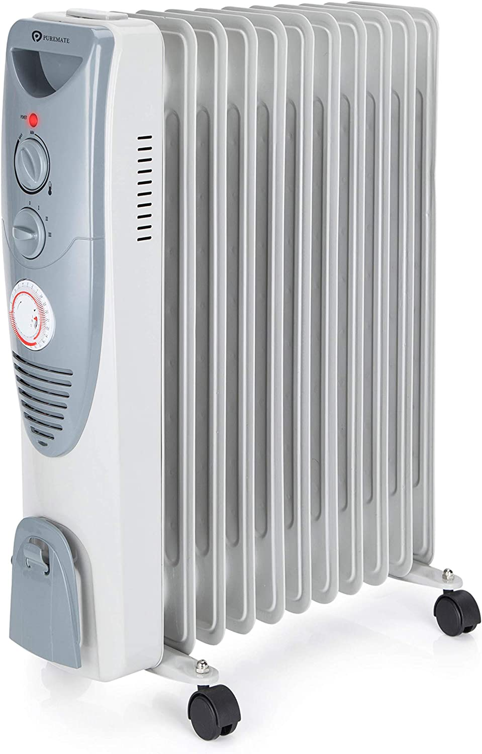 PureMate 2500W Oil Filled Radiator 11 Fin – Portable Electric Heater – 3 Power Settings, Adjustable Temperature/Thermostat, Thermal Safety Cut off & 24 Hour Timer