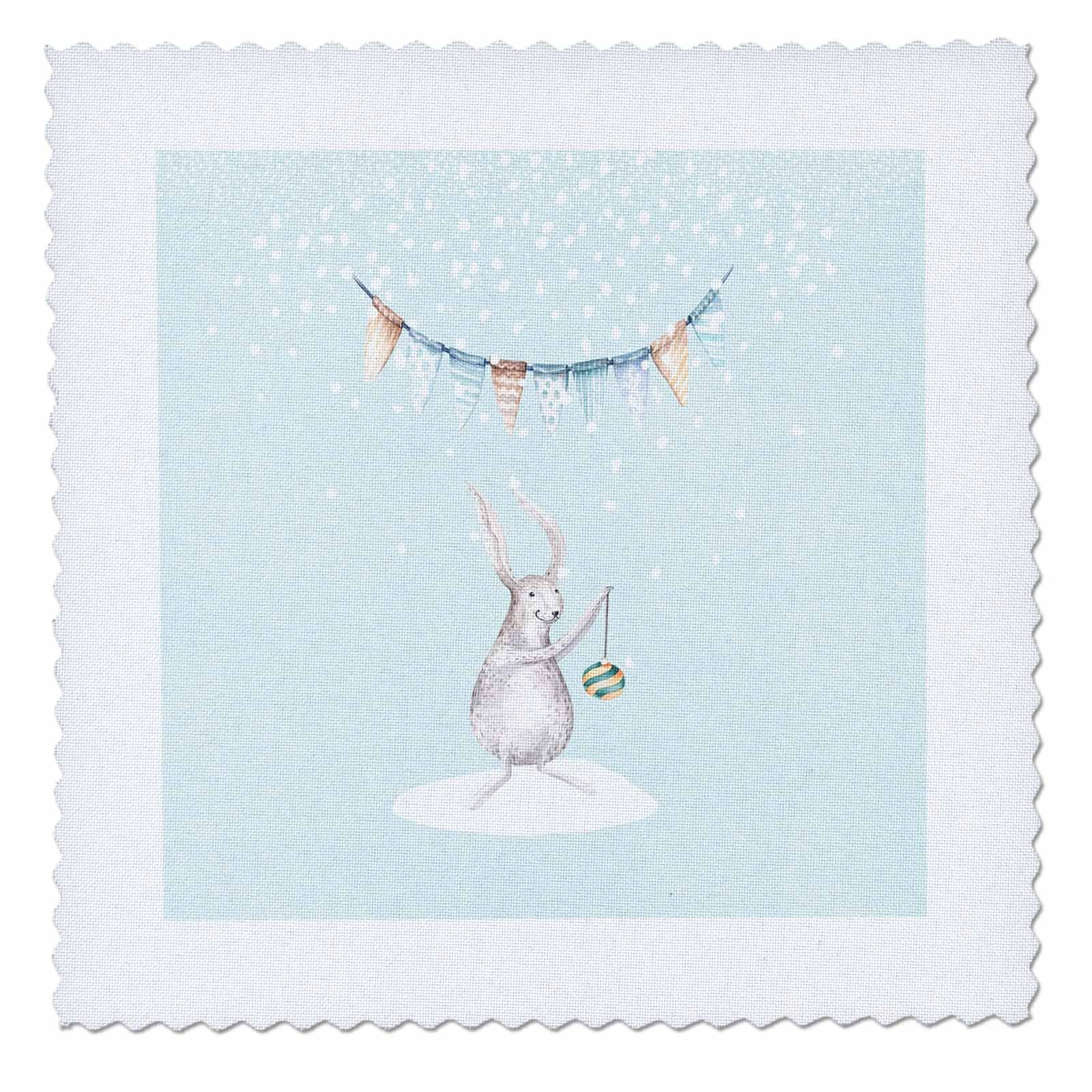 3dRose Uta Naumann Watercolor Illustration Animal - Cute Animal Illustration of a Deer in Winter Snow- For Children - 16x16 inch quilt square (qs_269055_6)