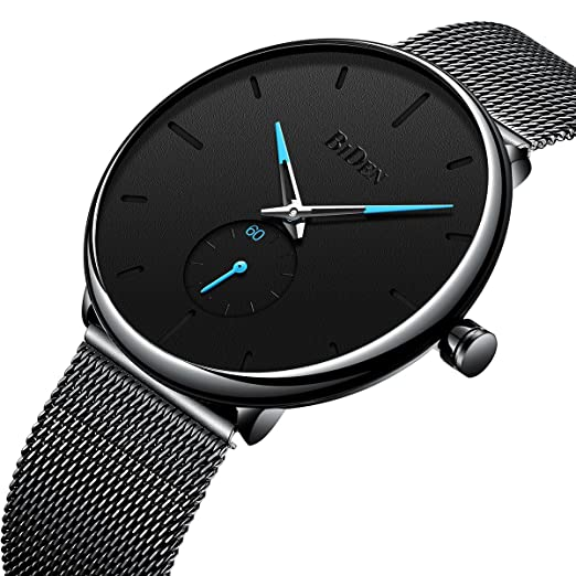 Amazon.com: Mens Watches Black Stainless Steel Ultrathin Luxury Fashion Casual Dress Waterproof Analog Wristwatch with Milanese Mesh Band: Watches