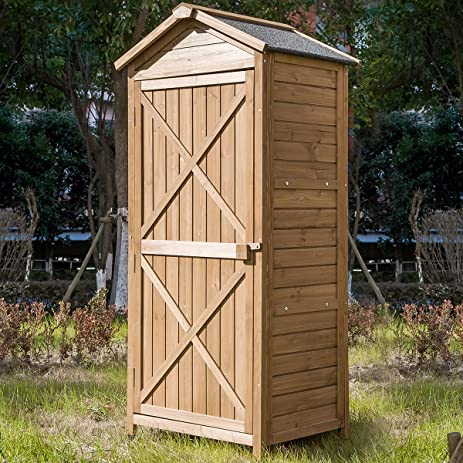 leisure zone outdoor wooden garden shed lockers fir wood with workstation design 2 - Garden Sheds Wooden