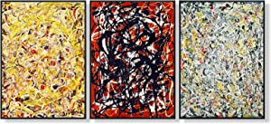 Doy Art-Framed Artworks 3 Panel by Jackson Pollock Series#1 Giclee Canvas Print Oil Paintings Reproduction Picture Wall Art for Bedroom Living Room Kitchen Home Decor(32