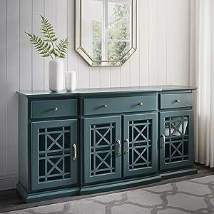 Walker Edison Modern Wood Glass Buffet Sideboard Living Entryway Serving Storage Cabinet Doors Dining Room Console, 60 Inch, Dark Teal (AZU60LANFWDT)