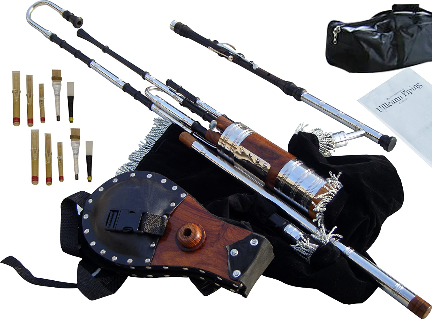 Learn To Play With Tutor Book /& Box New Irish Uilleann Pipes Half Set