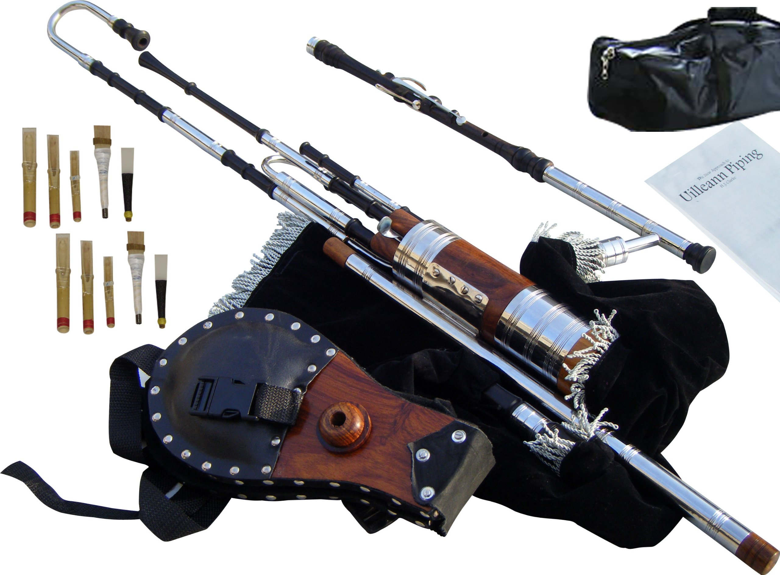 Irish Uilleann Bagpipe Half Set, African Blackwood, with 3 Keyed Chanter, Complete Set