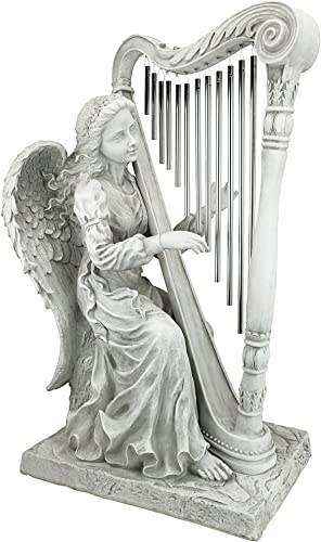 Design Toscano NG29970 Music from Heaven Angel Playing Harp Garden Windchimes Statue