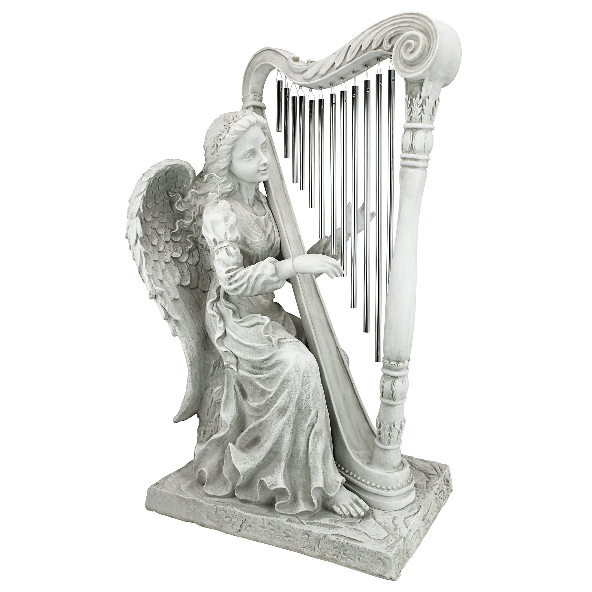 Design Toscano NG29970 Music from Heaven Angel Playing Harp Garden Windchimes Statue, Medium Two Tone Stone