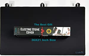 Larsic Stove Cover - Thick Natural Rubber Sheet Protects Electric Stove Top. Anti-Slip Coating, Waterproof, Heat Resistant, Foldable. Prevents Scratching, Expands Usable Space (36X21, Black)