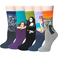 Chalier 4 Pairs/5 Pairs Womens Famous Painting Art Printed Funny Casual Cotton Crew Socks