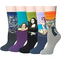 Chalier Pack de 4/5 Mujer Niña Calcetines Originales Ocasionales Estampados Divertidos Impresos de Algodón de Pintura…