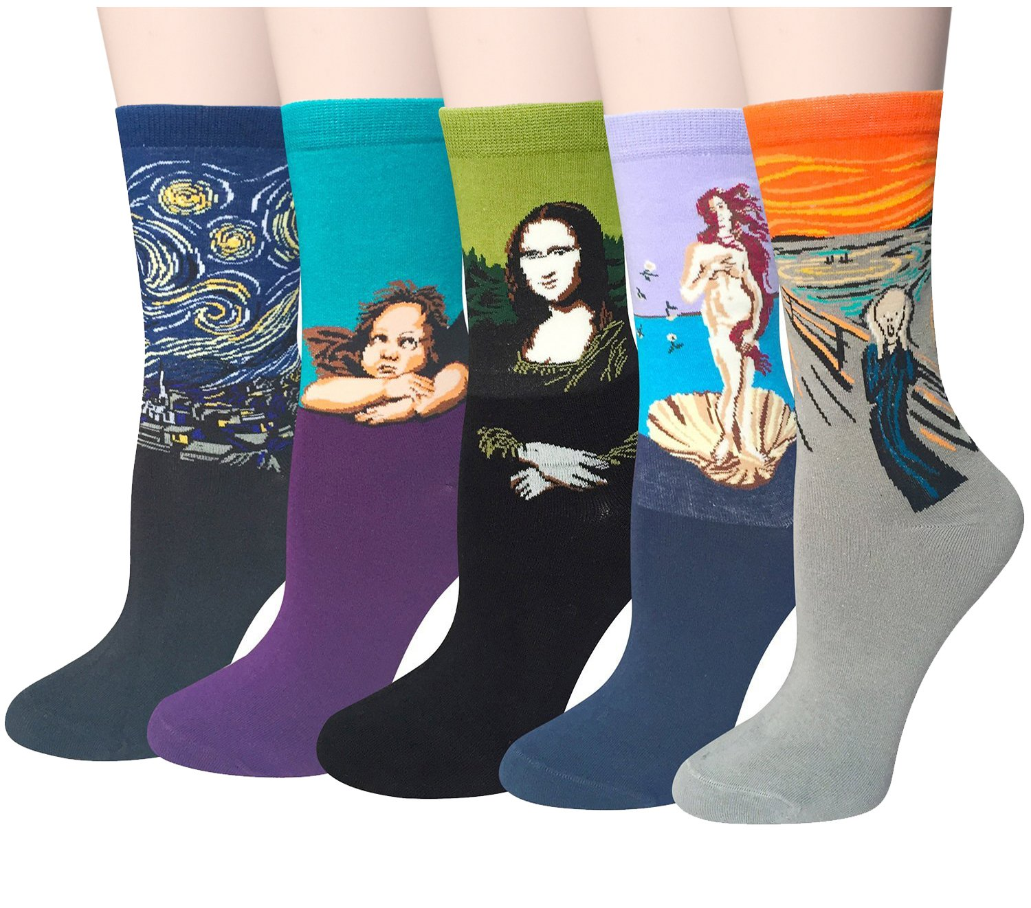 Chalier 5 Pairs Womens Famous Painting Art Printed Funny Casual Cotton Crew Socks, Art Painting B, Fits shoe size, mens 5-10, womens 6-11
