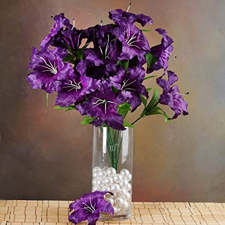 Amazon balsacircle 54 purple silk extra large lilies 6 bushes balsacircle 54 purple silk extra large lilies 6 bushes artificial flowers wedding party centerpieces mightylinksfo